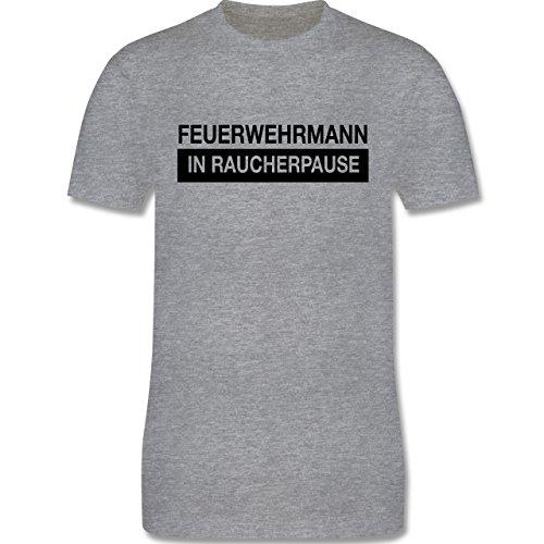 Feuerwehr - Feuerwehrmann in Raucherpause - Herren Premium T-Shirt Grau Meliert