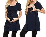 Swallowuk Mujeres Casual Maternidad De EnfermeríA Blusa De Lactancia Camiseta Manga Corta Embarazada O-Cuello Camisa Para Mamá (L, Azul marino)