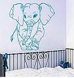 Lkfqjd Adesivo Murale Modello Piccolo Elefante Per La Decorazione Domestica Della Camera Da Letto Della Scuola Materna Della Parete Del Vinile Carta Da Parati Modellata Dell'Elefante Sveglio 57 * 57Cm
