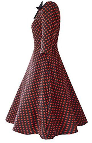 Brinny Robe de soirée/Cocktail Courte à Pois Rétro Vintage année 50 Style Audrey Hepburn Rockabilly Swing avec 3/4 Manches Vinerouge