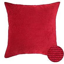 Deconovo Funda para Cojín Almohada de Poliéster para el Hogar 45X45 CM Rojo