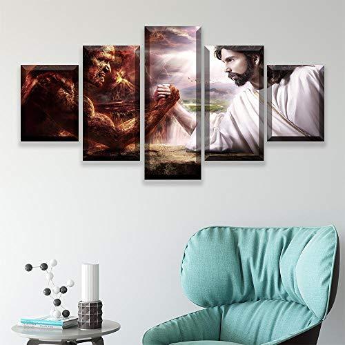 QPWOEI 5 Stücke Dekoration Jesus Und Der Teufel Armdrücken Leinwand Poster Vintage Kunst Leinwand Malerei Schlafzimmer Dekor Wandbild @ 20X35_20X45_20X55cm_with_Frame