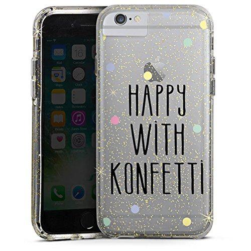 Apple iPhone 6 Bumper Hülle Bumper Case Glitzer Hülle Konfetti ohne Hintergrund Party Bumper Case Glitzer gold