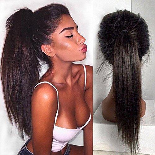 Helene Hair Nouvelle Mode Natural Droit Trois Partie perruque Brésilien Vierges cheveux humains Cheveux Perruques Lace avant avec bébé cheveux pour femmes noires 180% Densité ( 16 pouces)