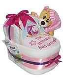 Windeltorte kleines Windelbettchen mit Bär rosa