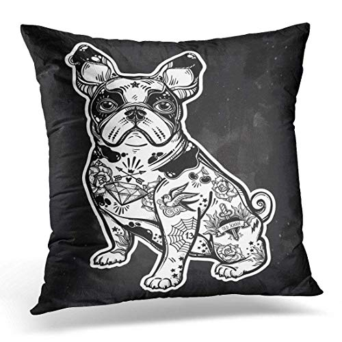 utiful Bulldog Pug Dog with Body Decorated in Flash Tattoos Character for Pet Lovers Decorative Pillow Case Home Decor Square 18x18 Inches Pillowcase ()