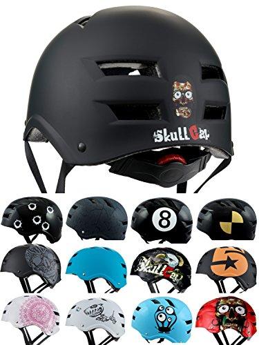 Skullcap BMX Helm ? Skaterhelm ? Fahrradhelm ?, Herren | Damen | Jungs & Kinderhelm, schwarz matt & glänzend (Dark World, S (51 - 54 cm))