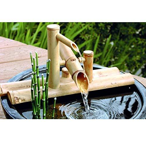 Fuente De Acentos De Bambú Caño De Agua con Bomba Decoración De Jardín Cascada Jardín Japonés Al Aire Libre,50cm