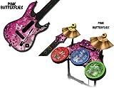 Schutzfolien für Guitar Hero 4 'World Tour' Guitar und Drum Set - passt für Xbox 360, PS3, PS2 - PINK BUTTERFLY
