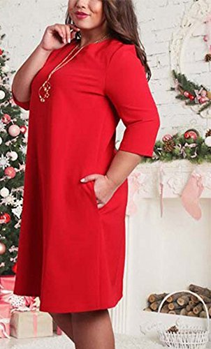 Women's Bridesmaid Cocktail Evening Dresses Plus Size 3/4 Sleeve Dress With Pockets Pleated-Dresses Rosso
