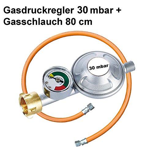 Gasregler 30 mbar Druckminderer Druckregler mit Manometer und Schlauchbruchsicherung Gasschlauch 80 cm