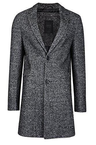 Threadbare Herren Mayfair oder Kensington lange Linie Mantel Salz & Pfeffer - grau