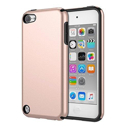 el mit iPod Touch 2019/iPod Touch 7/ iPod Touch 5/6, 2 in 1 Stoßdämpfende TPU Stoßstange Ultra Slim Schutzhülle mit Hardcover für Apple iPod Touch 6./5. Generation, Rose Gold ()