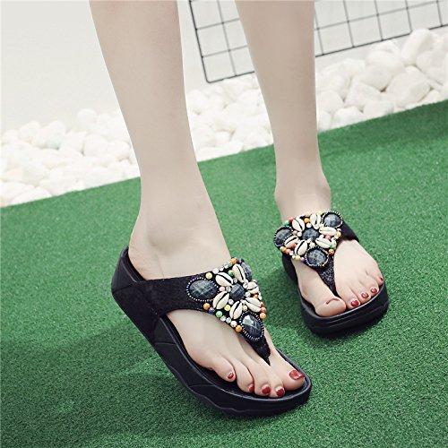SCLOTHS Tongs Femme Chaussures Antidérapante fond mou talons moyens tongs Locations Waichuan avec pente de pincement dété pincée Black