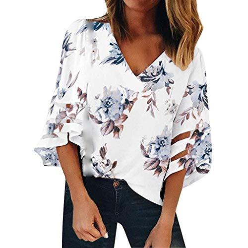 COZOCO 2019 Mode T-Shirt Damen V-Ausschnitt Oberteile Blumennetz Bluse 3/4 Glockenärmel Beiläufige Lose Shirts Print Tees