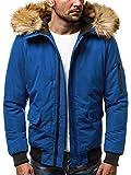 OZONEE Herren Winterjacke Parka Jacke Kapuzenjacke Wärmejacke Wintermantel Coat Wärmemantel Warm Modern Täglichen 777/098K BLAU M
