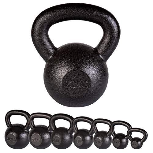 ScSPORTS Kettlebell 24 kg Gusseisen mit Hammerschlag-Optik, Kugelhantel Gewicht schwarz
