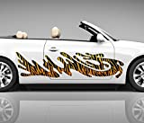 2x Seitendekor Tiger Streifen gelb 3D Autoaufkleber Digitaldruck Seite Auto Tuning bunt Aufkleber Rennstreifen Seitenstreifen Airbrush Racing Autofolie Car Wrapping Motorrad LKW Decals Sticker Tribal Seitentribal CW092, Größe Seiten LxB:ca. 80x20cm