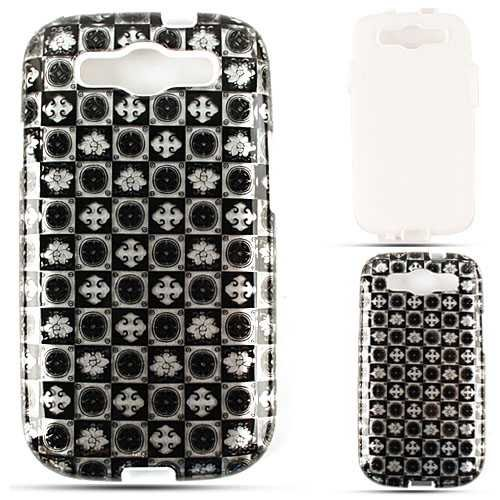 Zelle Armor sami747-pc-jelly-tp1583-s Hybrid fit-on Jelly Case für Samsung Galaxy S3-Retail Verpackung-Transparent Schwarz und Weiß Schilder in Squares (Square Halfter)