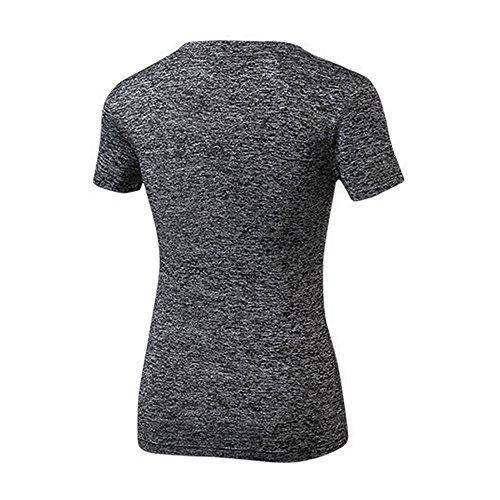 Oeak Vêtement de Sport à Manches Courtes T-Shirt Col en V Séchage Rapide Respirant Noir 1
