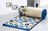 #7: AURAVE Leaf Pattern Multicolored Reversible Cotton Dohar - BLUE - SINGLE SIZE (Gift Wrapped)