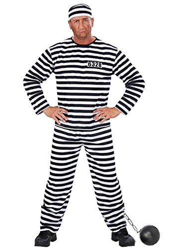 Sträfling Kostüm Sträflingskostüm Gefangener Herren Gr. L komplett mit Hose Hemd Kappe Fußkugel Junggesellenabschied Karneval Fasching