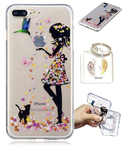 Preisvergleich Produktbild iPhone 8 Plus / 7 Plus Hülle Durchsichtig Silikonhülle für iPhone 8/7 Plus (5.5 Zol) Kratzfeste TPU Klar Transaprent Flexibel Weich Bumper Back Case Cover Tasche Schön Muster + Schlüsselanhänger */56 (2)