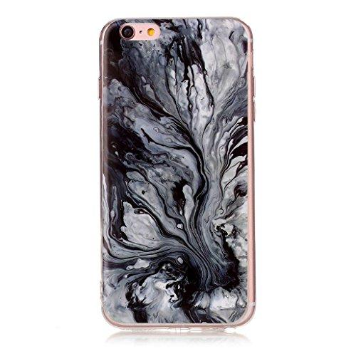 XiDe iPhone 6 Hülle iPhone 6S Hülle Marmor Textur Muster TPU Silikonhülle Softcase Back Cover Tasche Schutzhülle Anti-Scratch Telefon-Kasten Handyhülle Handycover Euit - Rauch Weiß Schwarze Lava