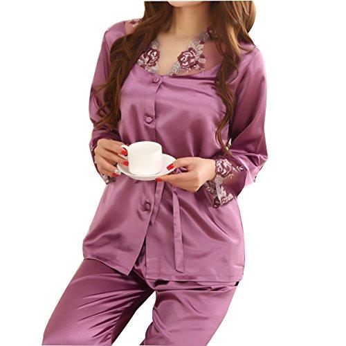 Mme WS @ WX1023 à Manches Longues Pyjama De Soie purple