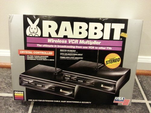 Gemini Rabbit Wireless VCR Multiplier / The Ultimate in Broadcasting From One VCR to Other Tvs / Use Also For Extending Cable