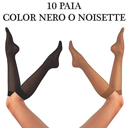 10 paia calze donna gambaletto 20 denari – calza gambaletto da donna 20 den – gambaletto 20 den x10 – Made in Italy – XIX Calzificio Pm – Taglia unica. Colori disponibili: nero o noisette