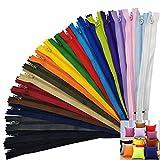 SuperHandwerk 120pz Cerniere Lampo Zip Cerniere Colorate Chiusure Lampo Nylon Cerniere Lampo di 20 Colori per Cucire Mestiere Materiali Fai da te (120 pezzi)