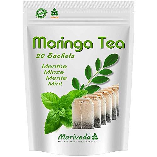 Moringa Tee 100% natürlich & vegan (wahlweise Moringa-Blattmischung, Apfel-Zimt, Granatapfel, Ingwer, Minze). Qualitätsprodukt von MoriVeda (20 Beutel Moringa Minze) -