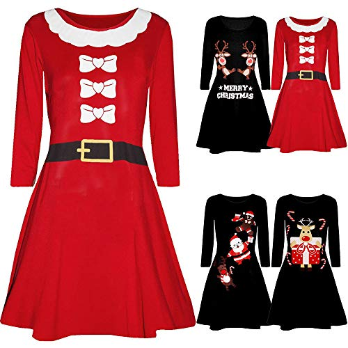 IZHH Damen Weihnachtskleider, Printed Langarm Weihnachtsmann drucken O-Neck Slim Fitted Abend Prom Kostüm Swing Kleid Party Club Festival Kleid(R-Schwarz3,Medium) - 5