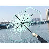 AZX Flor Paraguas Transparente para Mujer, Paraguas Plegable Antiviento, Paraguas para Lluvia (Verde