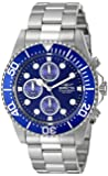 Invicta Pro Diver Men's Quartz Watch with Blue Dial  Analogue display on Silver Stainless Steel Bracelet 1769