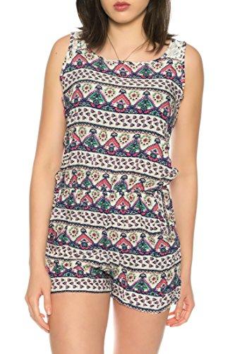 Dress Sheek Damen Jumpsuit Kurz Playsuit Sommer Spitze Luftig Mehrfarbig Gemustert Reißverschluss Overall C17163 - Rosa