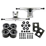 Vj skateshop Longboard Skateboard Combo Paket mit 70 mm Rollen 18 Zoll 180 mm Aluminium Achsen Kugellager Hardware Komplettset, Silver Truck/Black Wheel