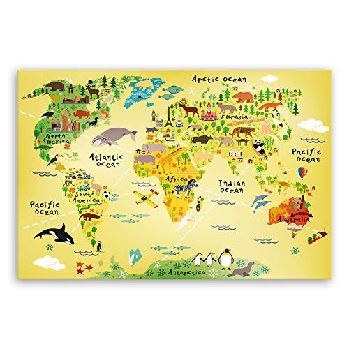 ge Bildet® hochwertiges Leinwandbild XXL - Weltkarte für Kinder - Gelb - bild für kinderzimmer - 120 x 80 cm einteilig 2200 J