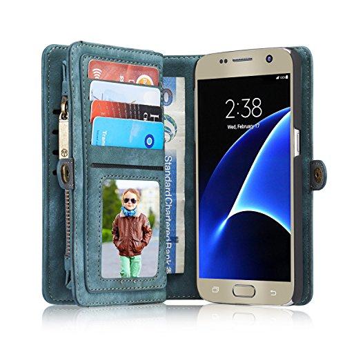 """Samsung S7 5,1""""Case Hülle Geldbörse mit Kartenfächer,Blau, iPhone/Samsung 6/6S/7/6 Plus/6S Plus/7 Plus Note7/S7/S7Edge Geldscheinfach mit Reißverschluss Premium abnehmbar Magnet Handy Schutzhülle"""