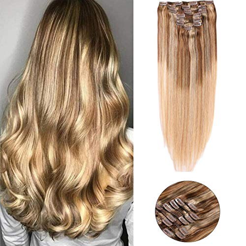 Clip in Haarverlängerung Remy Menschenhaar 8A Brasilianisches Haar 120g 100% Menschenhaar 4P10T27 Medium Brown Fading to Golden Brown and Strawberry Blonde Highlighted Clip in Extensions 16Zoll/40cm
