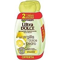 Garnier Ultra Dolce Shampoo Purificante Argilla Dolce e Cedro per Capelli Tendenti Ad Ingrassarsi, Senza Parabeni, Estratti Anturali, 300 ml [Confezione da 2]