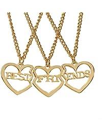 44c411d351b9 Elegant Rose 3 Piezas Best Friends Forever BFF Plata corazón Clave Colgante  Collar Conjunto Amistad Accesorios