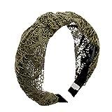 NuiOOui131 - Cerchietto per capelli in pizzo, da donna, con nodi e cavi, lavorato a maglia