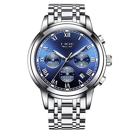 Relojes para hombre, Relojes Reloj de pulsera de acero inoxidable plateado, Diseño de lujo Dial azul / negro Fecha calendario Relojes analógicos de cuarzo Vestido de negocios causal (Silverblue)