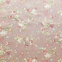 Flores rosas impresión DE ALGODÓN POPELÍN TELA estilo Vintage rosa con verde y crema–se vende por metro