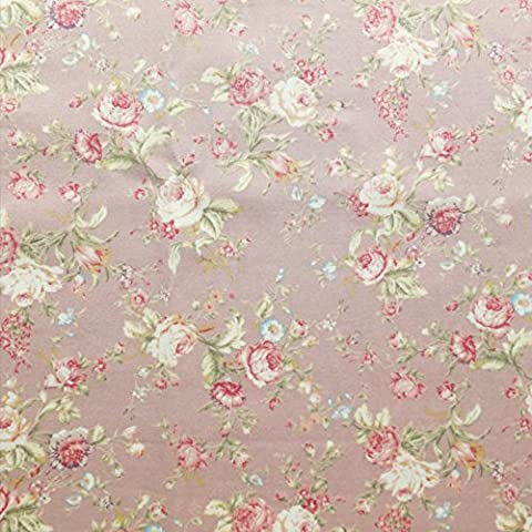 Floral Rose cotton Poplin print Fabric Vintage Style Dusky Pink with Green & Cream - sold by the