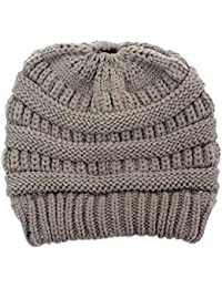93db63adf1167 World 2 home Women Warm hat Brand Warm Winter Knitted Chunky Soft Slouchy  Beanie High bun