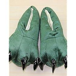Ei&iLI dinosaurio lindo de algodón verde zapatillas Kigurumi animales de la pata (chico: 21cm, femal: 26cm, masculino: los 31cm) , kid