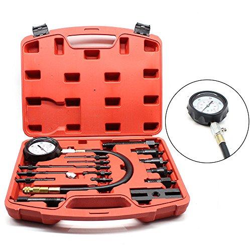 SENDERPICK, Kit di Tester di Compressione per Motore Diesel, misuratore di perdite per Motore a Benzina, Auto e Moto, con 9 Diversi Tappi Luminosi e 4 adattatori per iniettori
